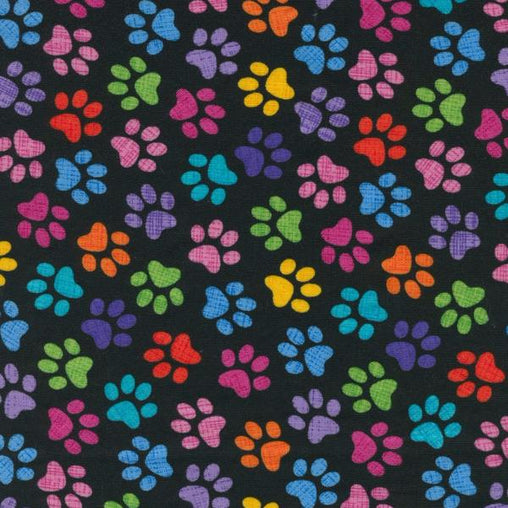 Colourful Animal Paws on Black Novelty Cotton Fabric - Vera Fabrics