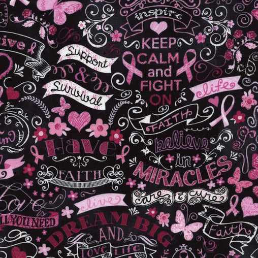 Pink Ribbon Chalkboard Keep Calm & Fight On Cotton Fabric - Vera Fabrics