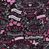 Pink Ribbon Chalkboard Keep Calm & Fight On Cotton Fabric