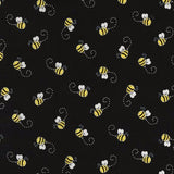 Buzzing Bees on Honeycomb Black Novelty Cotton Fabric