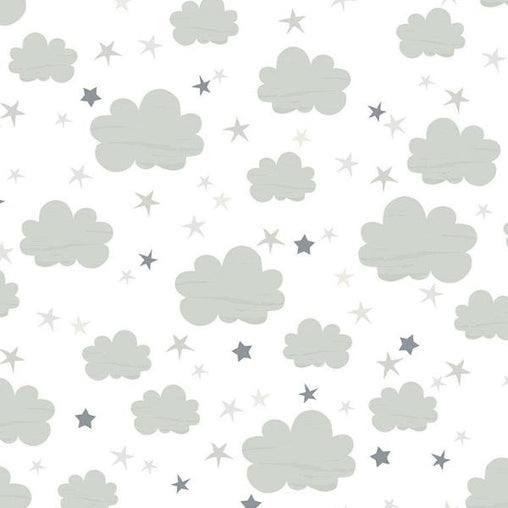 White & Grey Clouds Nursery Novelty Print Cotton Fabric - Vera Fabrics