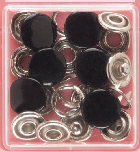 Button Snaps: Black - Solid Top, 11mm - 3 Sets - Vera Fabrics