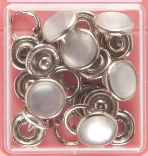 Button Snaps: Pearl - Solid Top, 11mm - 3 Sets - Vera Fabrics