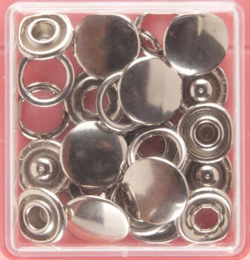 Button Snaps: Silver - Solid Top, 11mm - 3 Sets - Vera Fabrics
