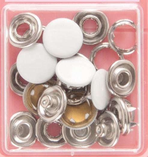 Button Snaps: White - Solid Top, 11mm - 3 Sets - Vera Fabrics