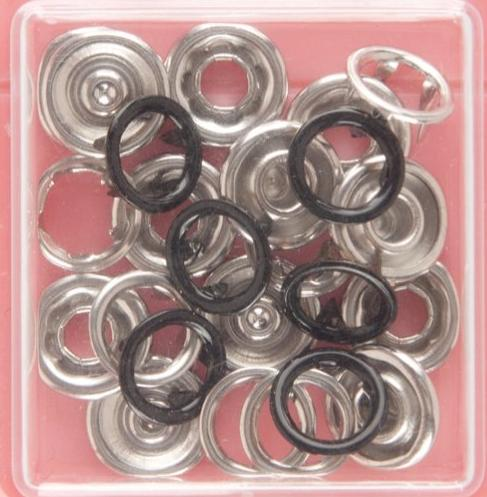 Button Snaps: Black - Ring Top, 11mm - 3 Sets - Vera Fabrics