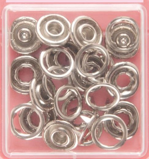 Button Snaps: Silver - Ring Top, 11mm - 3 Sets - Vera Fabrics