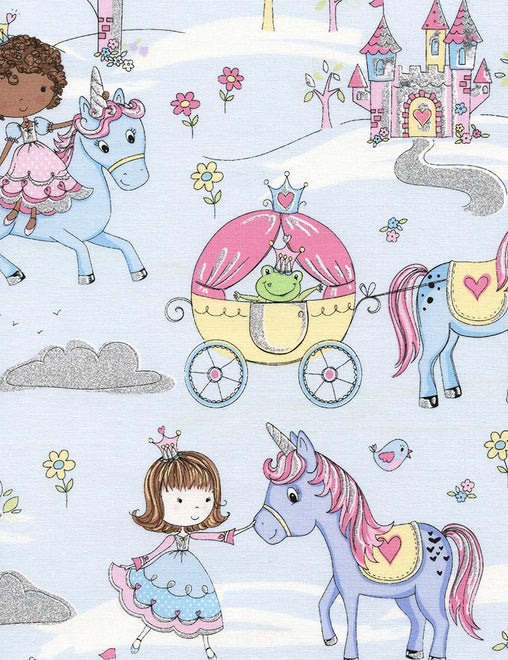 Princess Kingdom Castle Metallic Novelty Cotton Fabric - Vera Fabrics