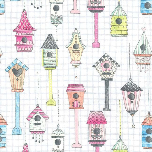 Bird Houses Love Shack Cotton Fabric - Vera Fabrics