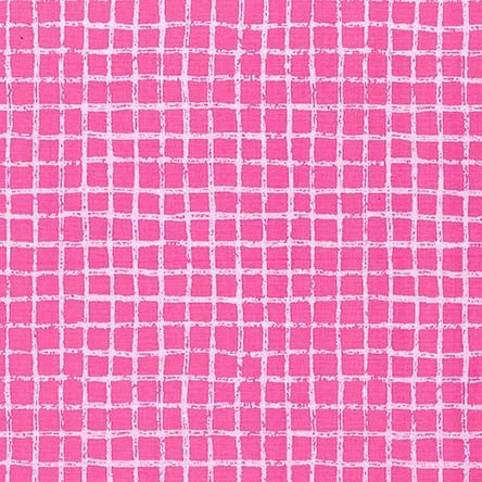 Pink Pretty Grid Tweet Me Cotton Fabric - Vera Fabrics