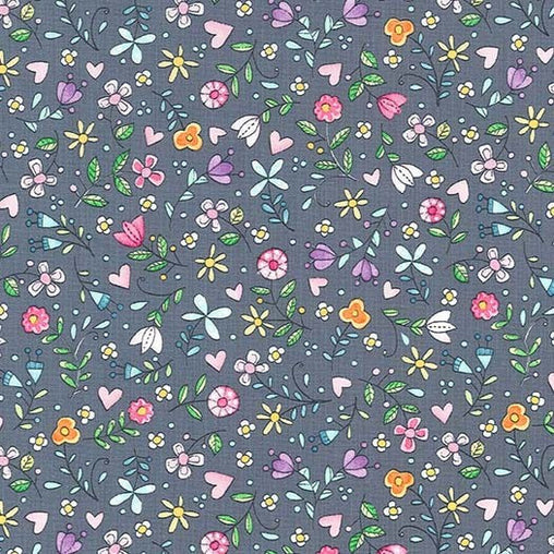 Grey Flowers Bitty Blooms Cotton Fabric - Vera Fabrics