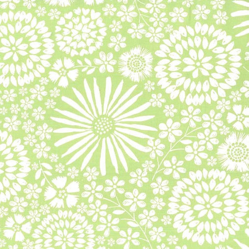 Light Green Flora Pop Cotton Fabric - Vera Fabrics
