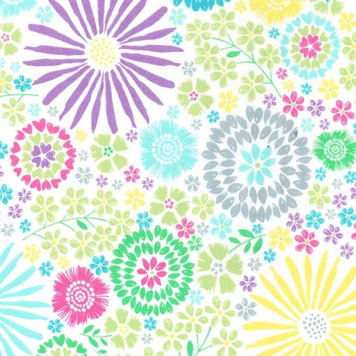 Colourful Flora Pop Cotton Fabric - Vera Fabrics