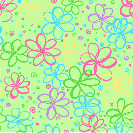Green Flowers P&B's Bloom Cotton Fabric - Vera Fabrics