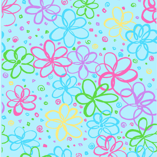 Turquoise Flowers P&B's Bloom Cotton Fabric - Vera Fabrics