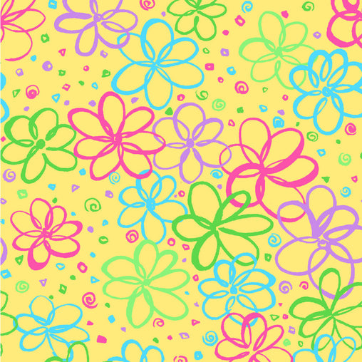 Yellow Flowers P&B's Bloom Cotton Fabric - Vera Fabrics