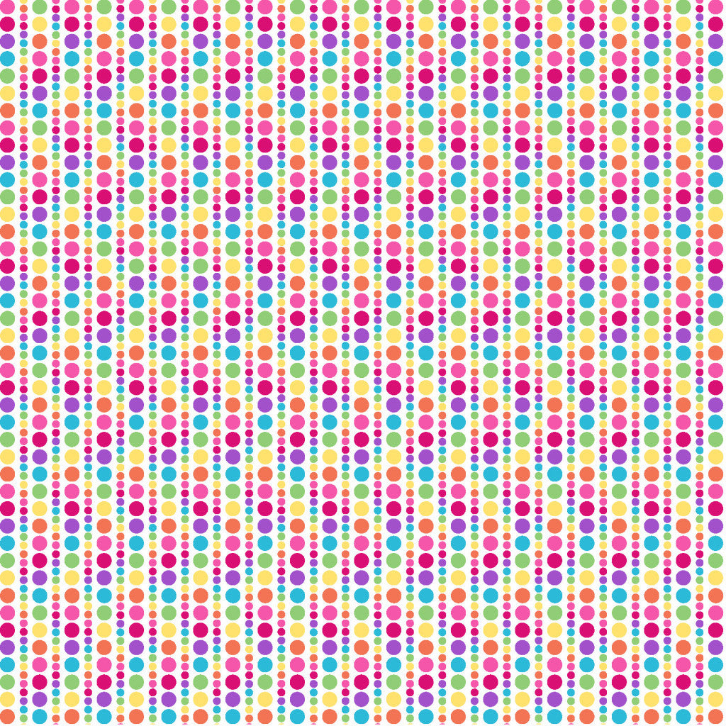 Multi Polka Dot Stripes P&B's Bloom Cotton Fabric - Vera Fabrics