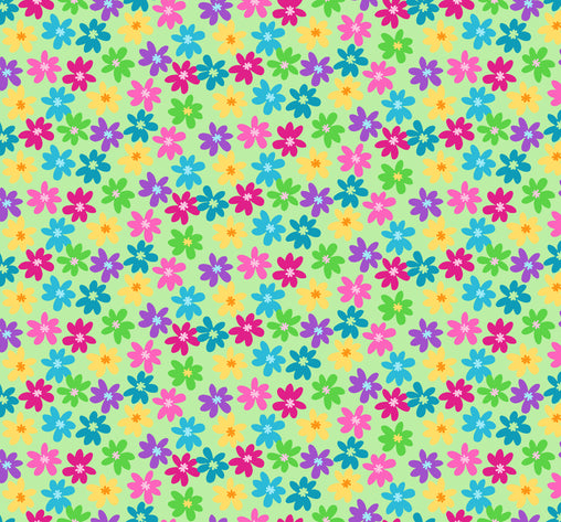 Multi Flowers on Green P&B's Bloom Cotton Fabric - Vera Fabrics