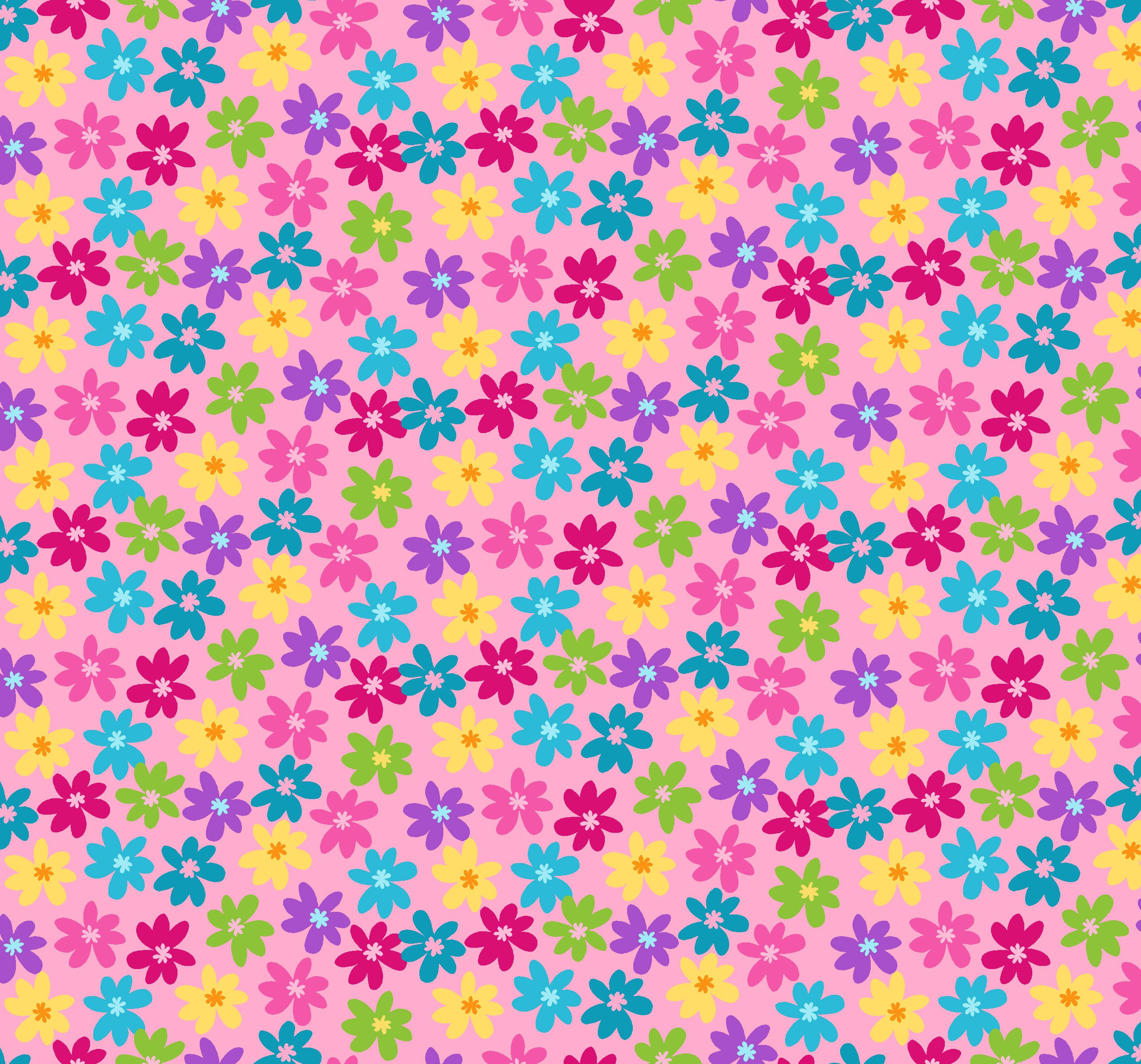 Multi Flowers on Pink P&B's Bloom Cotton Fabric - Vera Fabrics