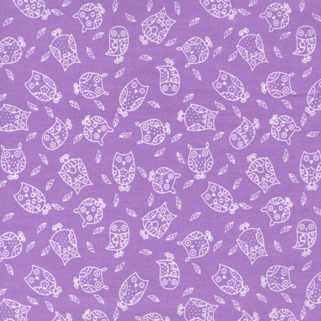 Small Purple Owls - 100% Cotton Fabric Fat Quarter - Vera Fabrics