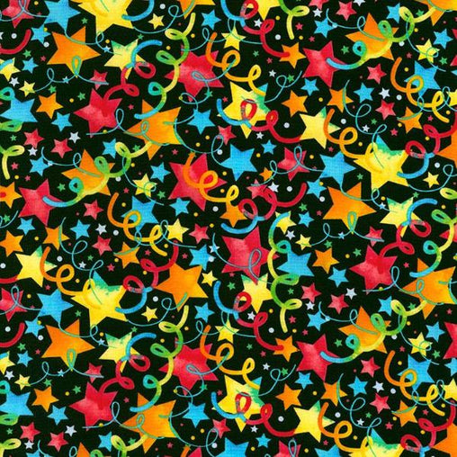 Bright Party Stars Celebrations Cotton Fabric - Vera Fabrics