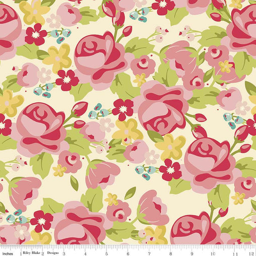 Roses on Cream Hello Gorgeous Cotton Fabric - Vera Fabrics