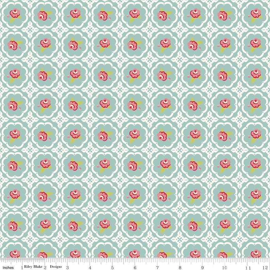 Rose in Circles Mint Hello Gorgeous Cotton Fabric - Vera Fabrics