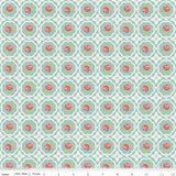 Rose in Circles Mint Hello Gorgeous Cotton Fabric