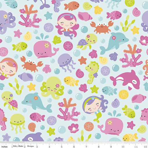 Sea Animals Under The Sea Cotton Fabric - Vera Fabrics