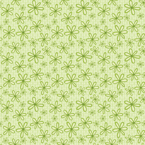 Green Flowers Basically Hugs Cotton Fabric - Vera Fabrics