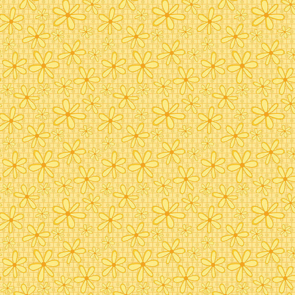Yellow Flowers Basically Hugs Cotton Fabric - Vera Fabrics