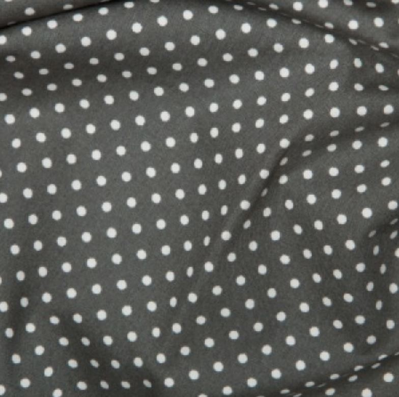 Grey 3mm Spotty Polka Dot 100% Cotton Poplin Fabric - Vera Fabrics