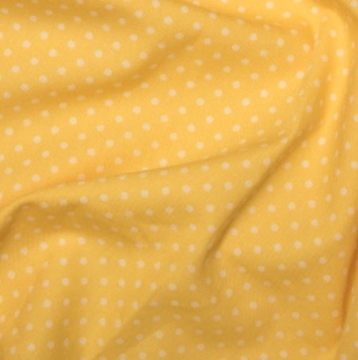 Yellow 3mm Spotty Polka Dot 100% Cotton Poplin Fabric - Vera Fabrics