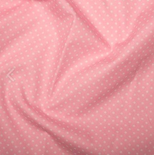 Baby Pink 3mm Spotty Polka Dot 100% Cotton Poplin Fabric - Vera Fabrics
