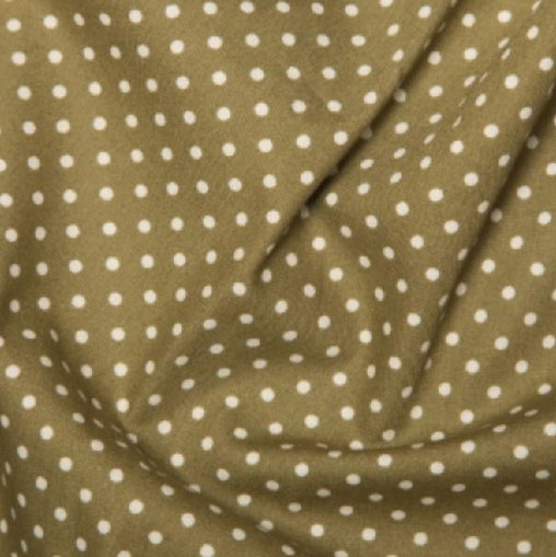 Moss Green 3mm Spotty Polka Dot 100% Cotton Poplin Fabric - Vera Fabrics