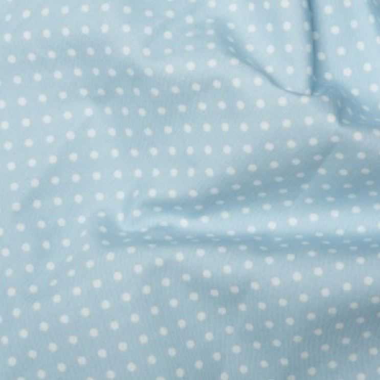 Baby Blue 3mm Spotty Polka Dot 100% Cotton Poplin Fabric - Vera Fabrics