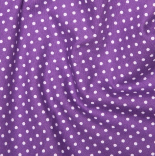 Purple 3mm Spotty Polka Dot 100% Cotton Poplin Fabric - Vera Fabrics
