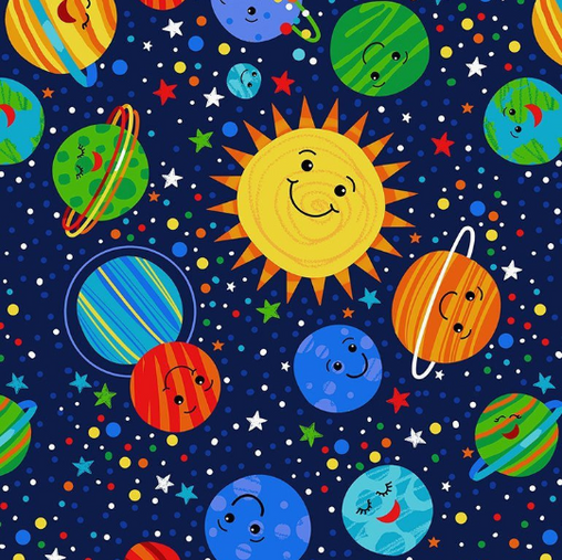Happy Planets Solar System Worlds Novelty Novelty Cotton Fabric - Vera Fabrics