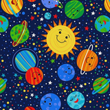 Happy Planets Solar System Worlds Novelty Novelty Cotton Fabric