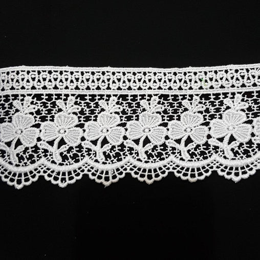 "3"" (77mm) Ornate Floral White Guipure Lace Trim - by the metre"