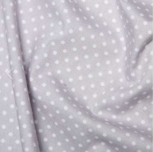 Excellent Quality Silver Light Grey 3mm Spotty Polka Dot 100% Cotton Poplin Fabric 130gsm Sewing Quilting Craft Home Decor