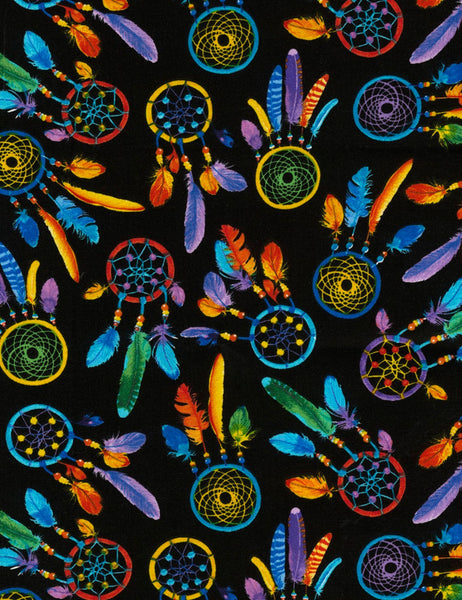 Dreamcatchers Multi Colours on Black Novelty Gypsy Quilting Craft Cotton Fabric Fat Quarter Decor Sewing Timeless Treasures