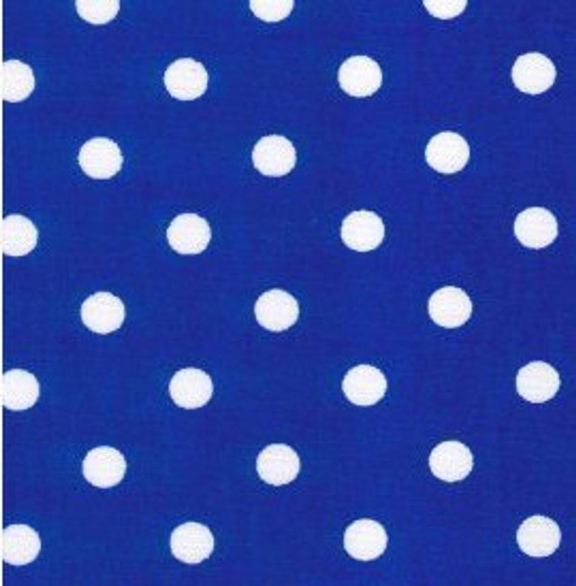 Excellent Quality Royal Blue 22mm Large Spotty Polka Dot 100% Cotton Poplin Fabric 130gsm Sewing Quilting Craft Home Decor