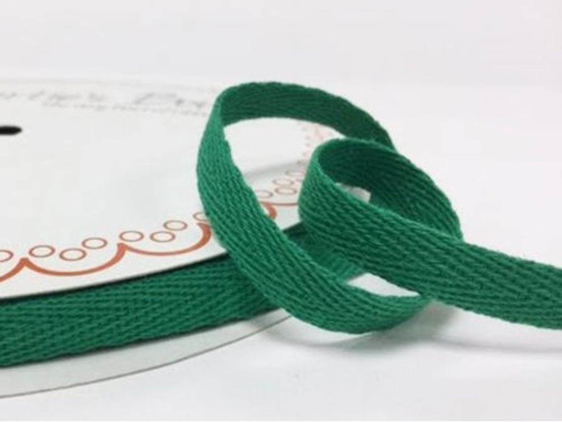 2 metres Christmas Green 10mm Cotton Herringbone Tape Webbing Ribbon Craft Sewing
