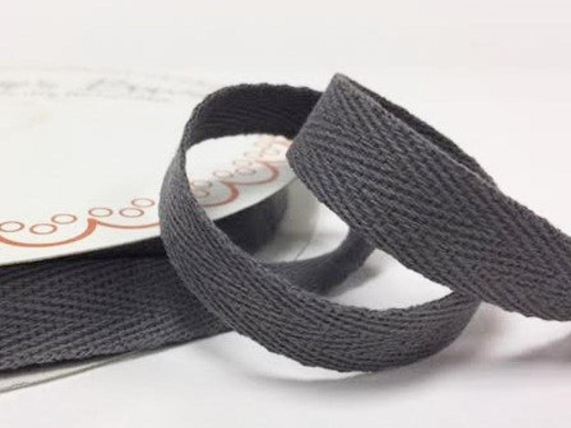 2 metres Charcoal Grey Gray 15mm Cotton Herringbone Tape Webbing Ribbon Craft Sewing