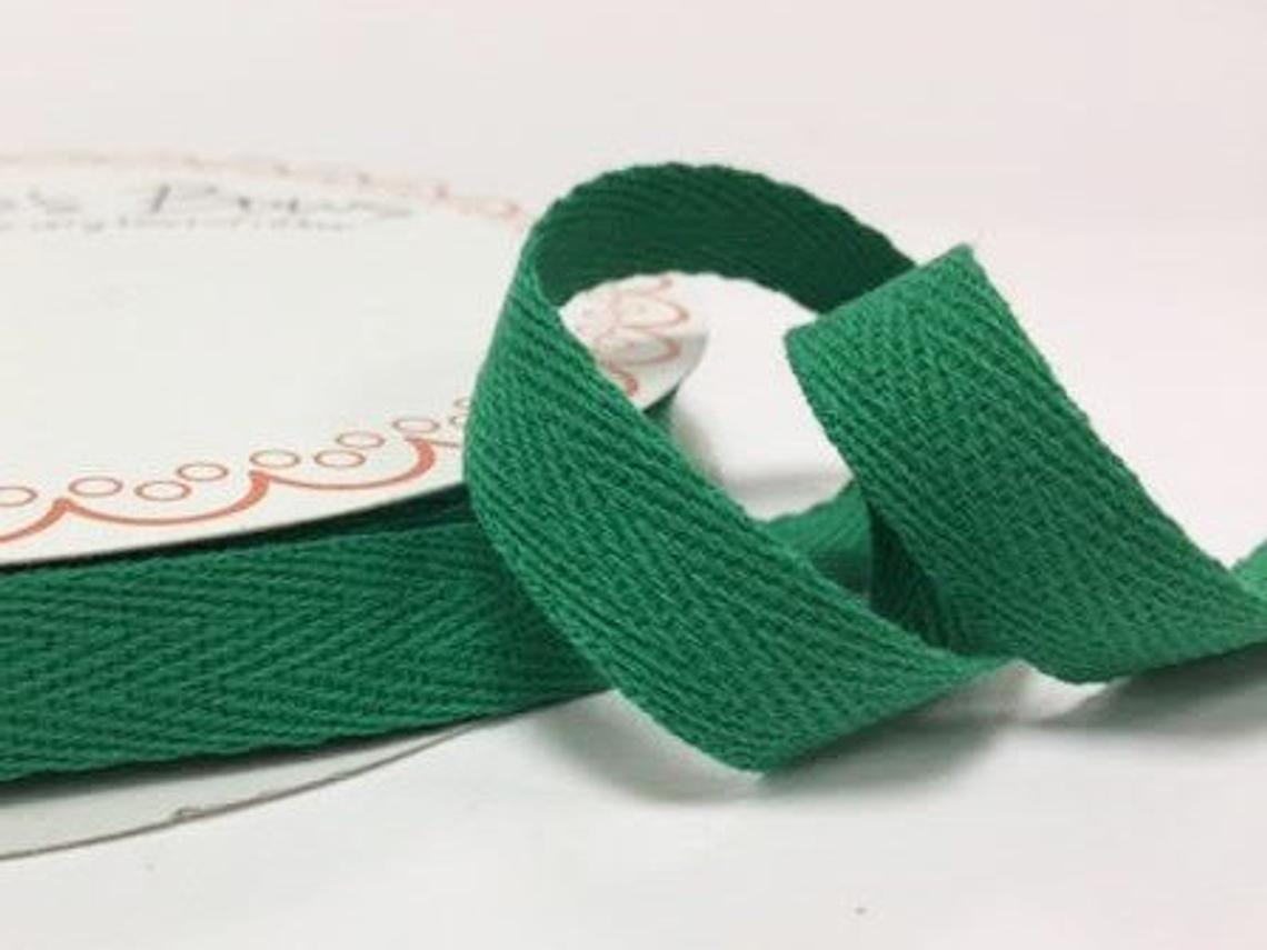 2 metres Christmas Green Xmas 15mm Cotton Herringbone Tape Webbing Ribbon Craft Sewing