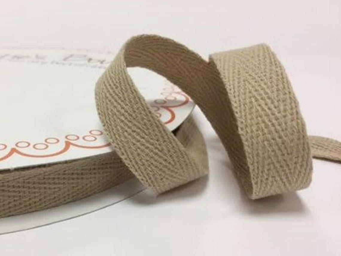2 metres Natural 15mm Cotton Herringbone Tape Webbing Ribbon Craft Sewing
