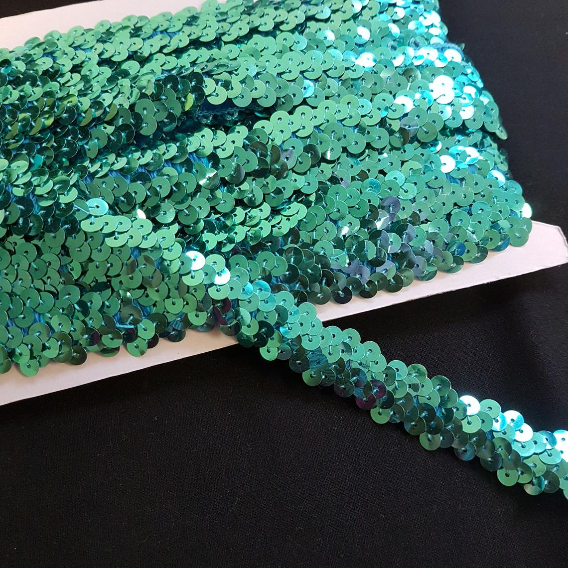 "0.75""/20mm Sea Green Sequins Shiny Stretchy Excellent Quality Trimming Clothes Craft Costumes Bling- by the metre"