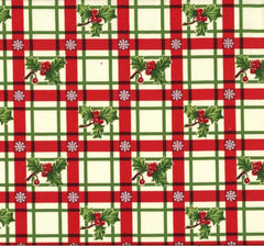 Holly-Day Plaid Christmas Xmas Gingham Checks Holly Green Fat Quarter Cotton Fabric by Michael Miller (UK)