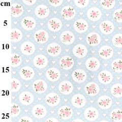 Pretty Blue & Pink Flowers and Hearts Design Circle Roses Love Valentines 100% Cotton Poplin Fabric 130gsm Sewing Quilting Craft Home Decor
